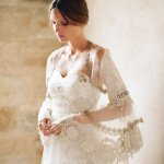 Wedding dress with lace sleeves, photo by Elizabeth Messina Photography