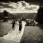 bride walking down the isle - wedding photo by top Denver based wedding photographer Hardy Klahold