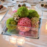 Pink rose and green mum pomanders - wedding photo by Kenny Nakai Photography