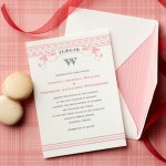 Modern and elegant pink, gray and white wedding invitation by Curious & Company Invitations