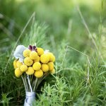 yellow bouquet detail in grass - wedding photo by top Atlanta based wedding photographers Scobey Photography