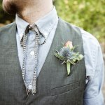 groom's gray vest and tie with pink and purple boutonniere - music inspired DIY wedding - photos by top Orange County, CA wedding photographers Viera Photographics