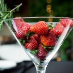 martini glass filled with strawberries - music inspired DIY wedding - photos by top Orange County, CA wedding photographers Viera Photographics