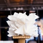 white paper flower decoration at eco-friendly Jewish wedding at AT&T Center, Los Angeles, photo by Callaway Gable