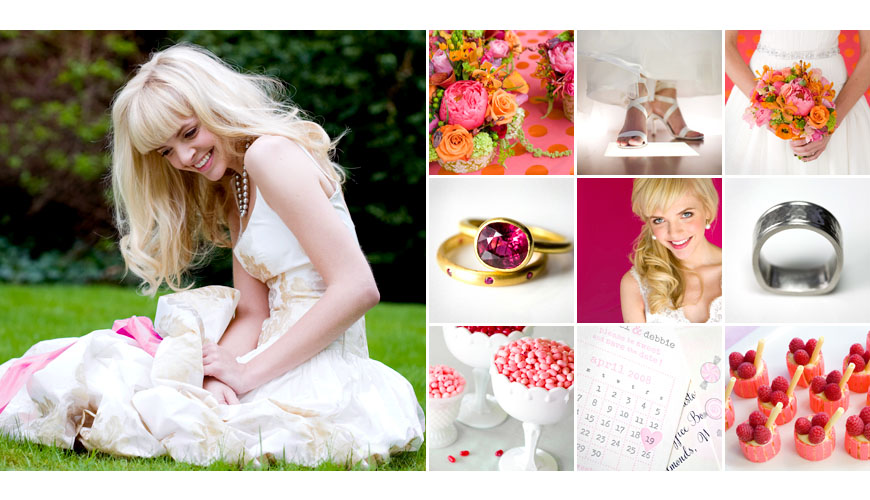 La vie photography, one thousand words photography and the junebug weddings team, playful pink wedding inspiration board and color palette