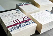 Elegant red and royal blue wedding invitations from Nicole Mae Paper Design, Seattle, WA 98177