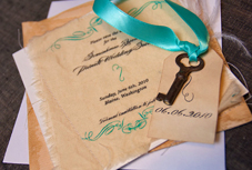 Romantic wedding invitation with vintage key by Efendi Designs - Seattle