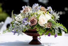 wedding bouquet of iris, lilac, and hydrangea from Christopher Flowers, photo by Lucas Mobley Photography