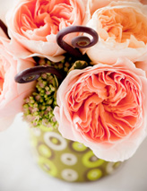 Coral wedding bouquet, Seattle wedding flowers - photo by Sandra Coan Photography