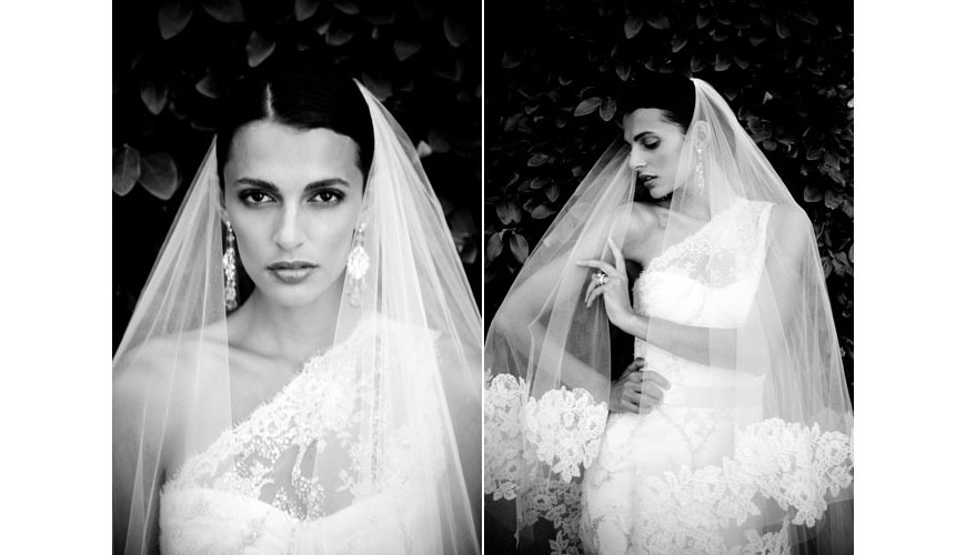 Ivory One Shoulder Chantilly Lace Martine Wedding Gown And Mantilla Veil By Monique Lhuillier Chandelier