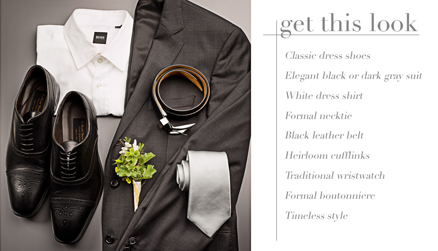 Classic gray men's wedding suit from Nordstrom, traditional wedding outfit, photography by J. Garner Studios