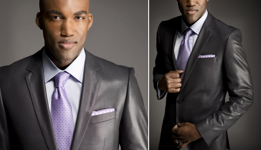 Modern metallic gray men's wedding suit from Nordstrom, alternative sexy wedding outfit, photography by J. Garner Studios