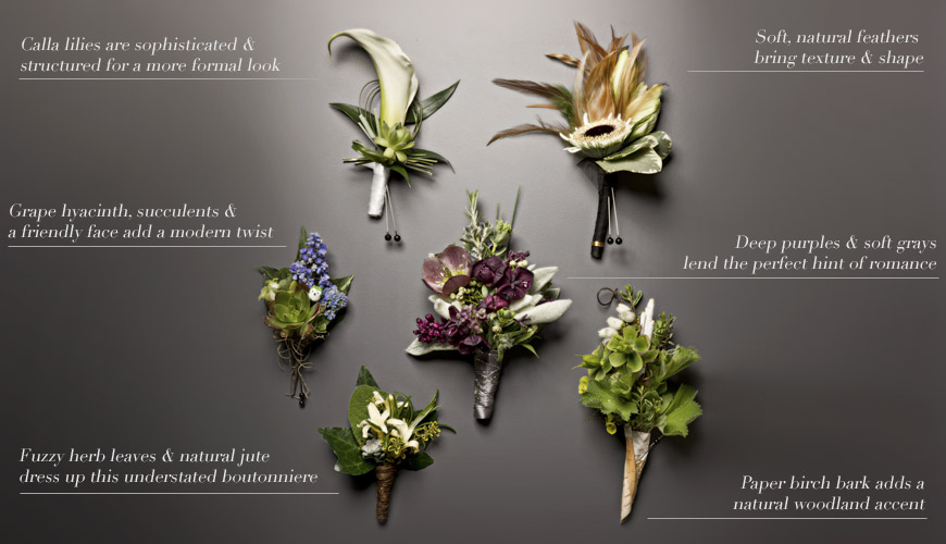 creative wedding boutonnieres for grooms and groomsmen, photography by J. Garner Studios