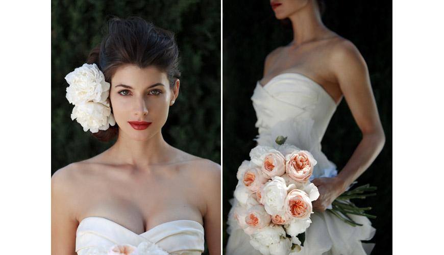 Vera Wang's Fall 2011 Ghilian wedding gown and white peony and rose bouquet and hair accessories, photos by Apertura Photography taken at The Grand Del Mar Resort in San Diego, California