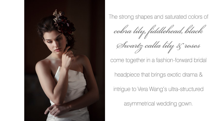 Vera Wang's Spring 2011 Fiona asymmetrical mermaid wedding gown with a creative fresh flower hair accessory by tic tock Couture Floral, hair and makeup by Erin Skipley, photos by Apertura Photography taken at The Grand Del Mar Resort in San Diego, California