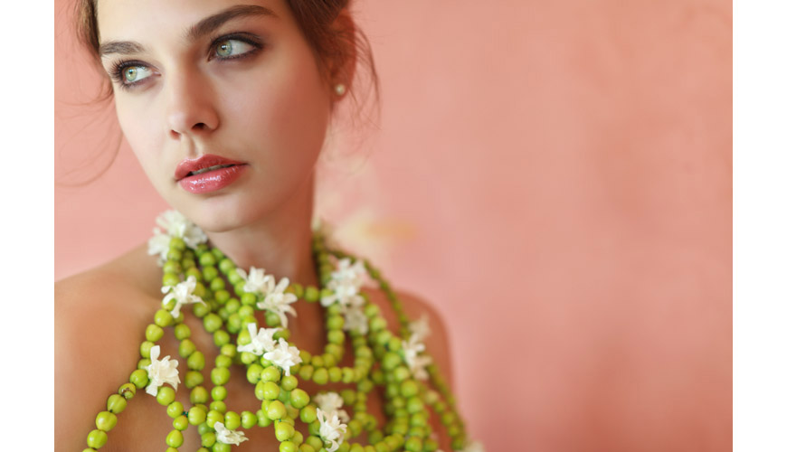 Alina Pizzano ball gown and an alternative bridal necklace made from green hypericum berries and white tuberoses by tic  tock Couture Florals, hair and makeup by Erin Skipley, photos by Apertura Photography taken at The Grand Del Mar Resort in San Diego, California