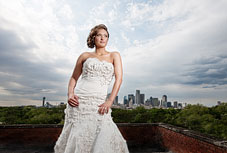 Strapless wedding dress with roses - photo by Dallas wedding photographer, Jeremy Gilliam