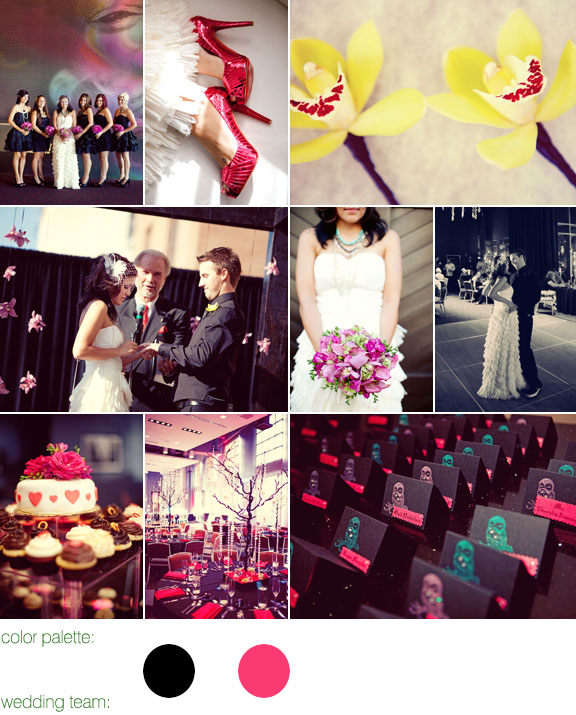 black and hot pink color palette, hard rock hotel, san diego california, photos by: sarah yates photography