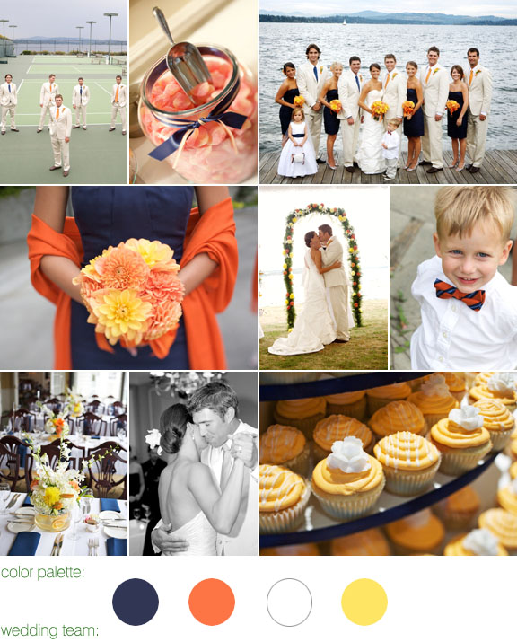 real wedding, navy and orange color palette, photos by: one thousand words photography