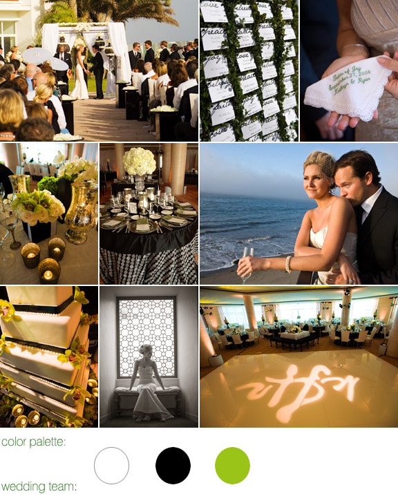 color palette: white, black and green, real wedding, santa barbara california, four seasons resort, photos by: robert evans studios inc.