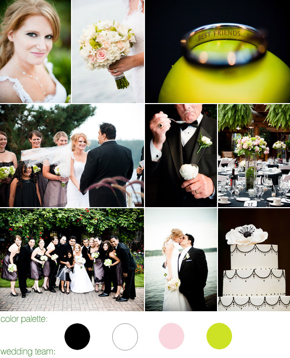 color palette: black, white, blush and green apple, kiana lodge, seattle wa, photos by: Laurel McConnell Photography