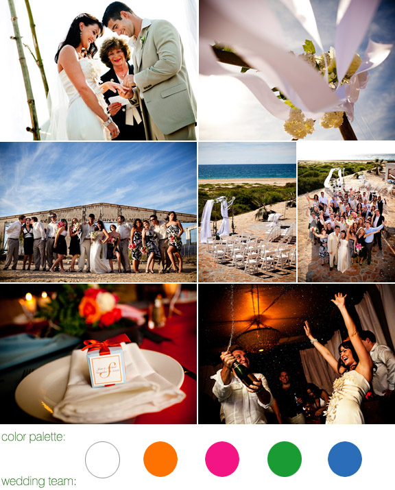 real wedding in Mexico, color palette: white, orange, pink, green, blue, photos by: Ben Chrisman Photography