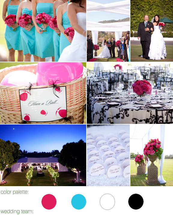 real wedding, teal and fuschia color palette, santa barbara, california, photos by: tim halberg, flowers by: cody floral designs