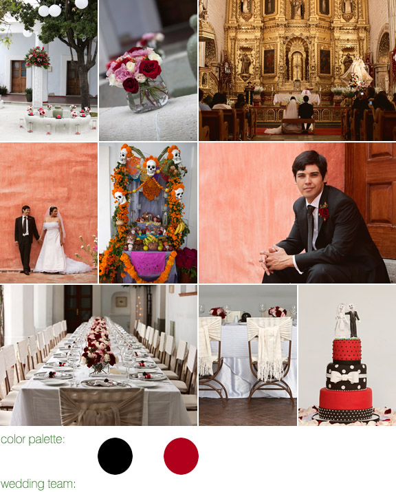 real wedding, destination wedding, oaxaca, mexico, photography by: roberto valenzuela, color palette: red and black