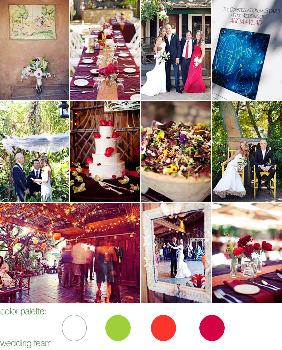 the holly farm, carmel ca - real wedding - photos by: meg perotti - color palette: white, chartreuse, orange, red