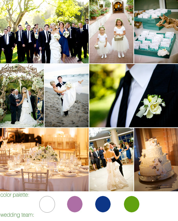 real wedding - four seasons resort - santa barbara, ca - photography by: bb photography - color palette: white, ivory with lavender and green accents