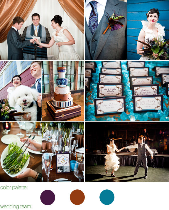real wedding - seattle, wa - photography by laurel mcconnell - eggplant and copper color palette