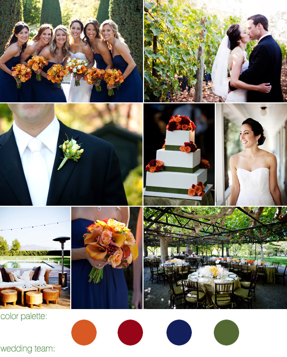 seasonal fall color palette - beaulieu gardens, napa valley ca - real wedding - photography by: jennifer bowen