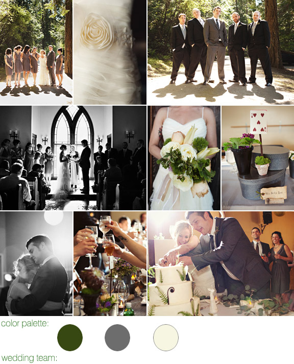 real wedding - orcas island, wa - photography by: jenny j - color palette: grey, green and ivory