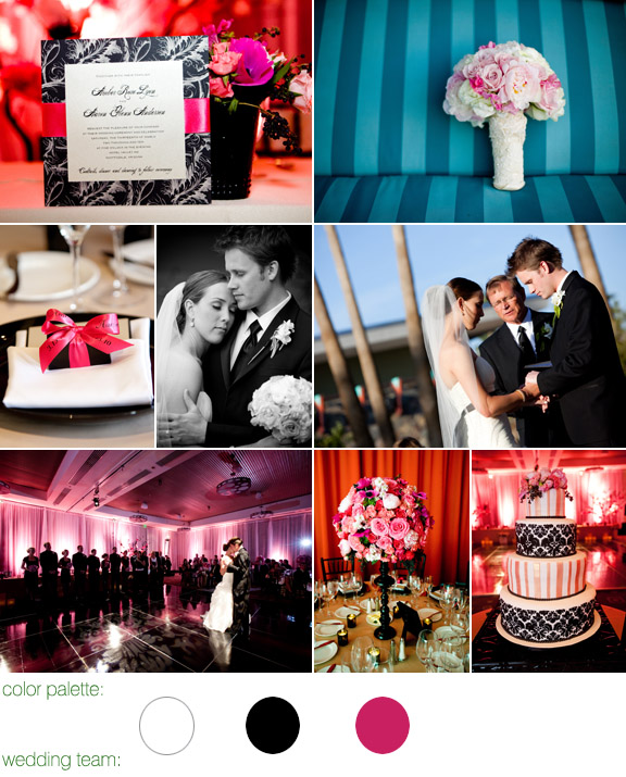 real wedding - photos by: kimberly jarman - scottsdale, az - hotel valley ho - color palette: white, black and pink