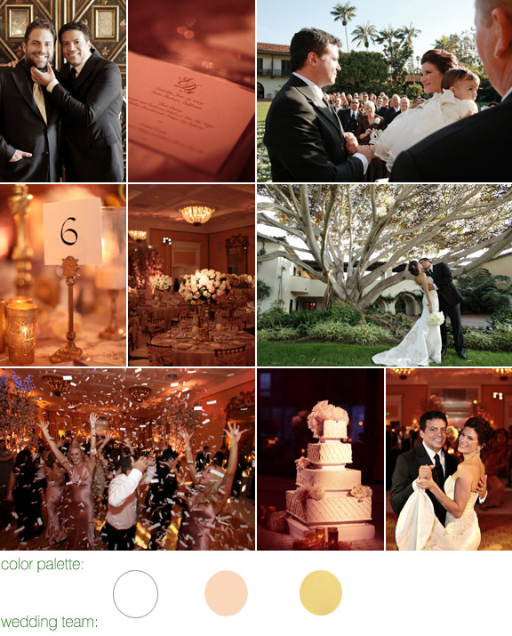 The biltmore, santa barbara - real wedding - photos by: joan allen - color palette: cream, white, with a splash of pink and gold - swisher productions and namevents