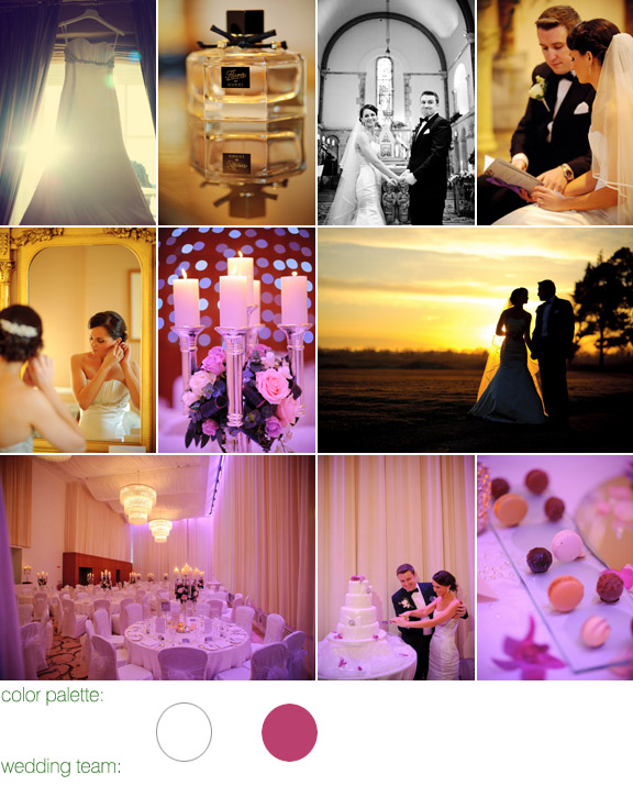 photography by: Jean Pierre Uys - real wedding - Castlemartry Resort, Ireland - white and hot pink color palette