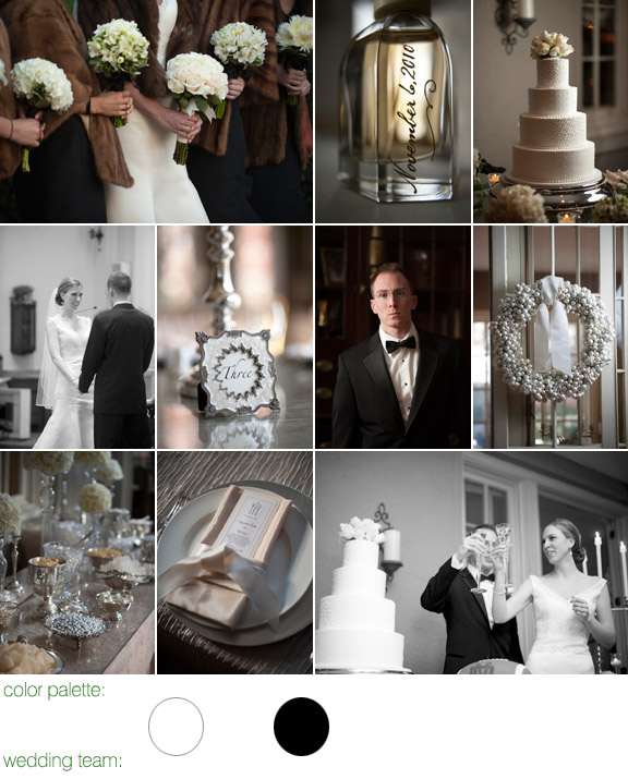 real wedding - New England -  photos by: Justin and Mary - color platte: white, cream and black - Lord Thompson Manor, CT
