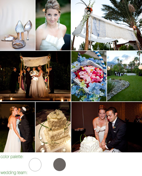 Palm Springs, CA - real wedding - photos by: Mary McHenry - color palette: white and pewter