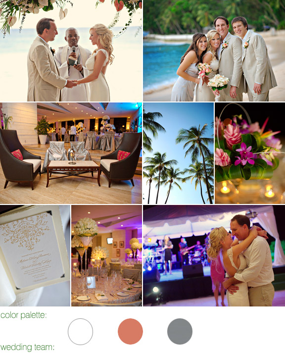destination real wedding - photos by: Aves Photographic Design - Sandy Lane Resort and Country Club, St. James, Barbados - color palette: white, ivory, apricot and coral