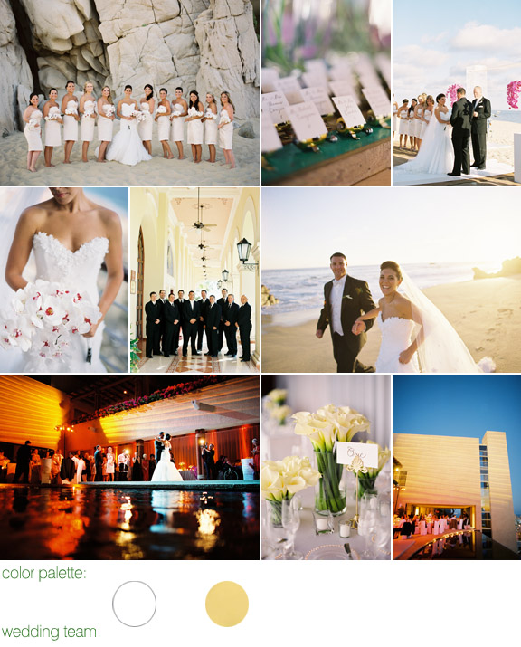 Cabo san luca, mexico - real wedding - photos by: scott andrew studio - color palette: white,and gold