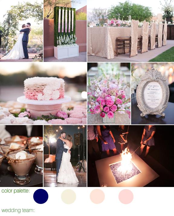 Junebug Real Weddings: Navy, Champagne, Cream & Blush