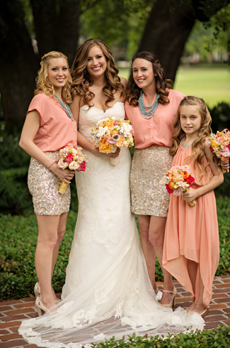 Coral, gold and gray wedding at Casa Feliz, Florida, with photos by Kristen Weaver Photography