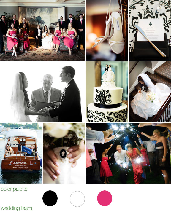 GH Kim Photography, black, white and fuchsia Parisian wedding color palette
