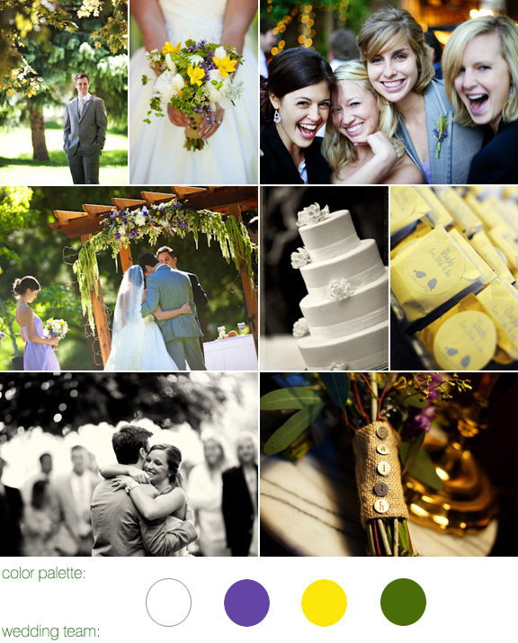 color palette: white, purple, yellow, green - real wedding - glen eyrie castle - colorado - photos by otto schulze