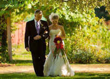 Northwest bride with exotic bouquet at the beautiful Farm Kitchen, Poulsbo WA