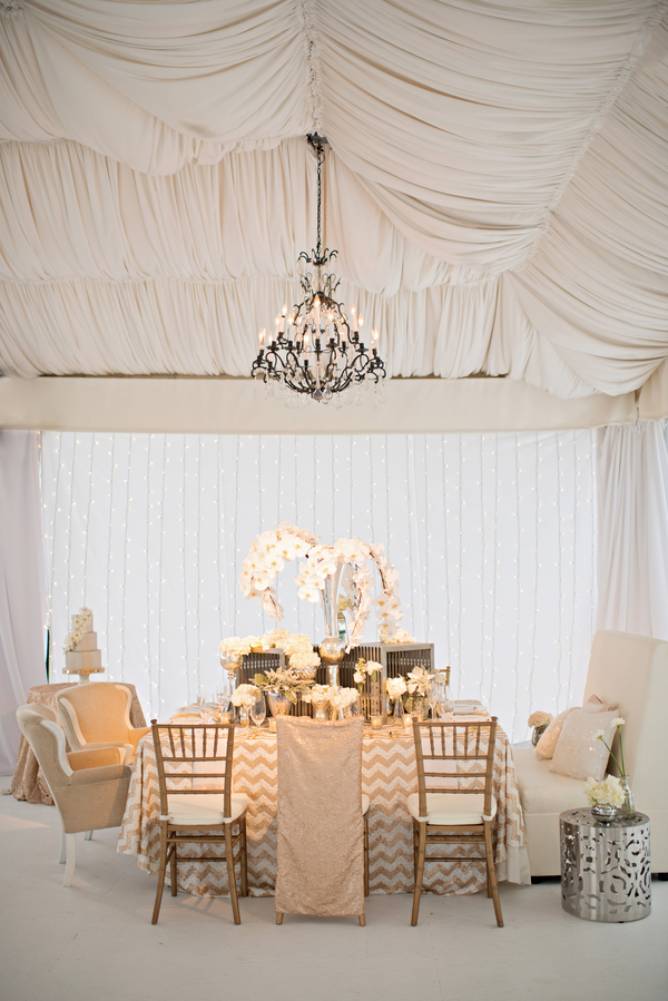 shimmering gold silver and cream wedding color inspiration | via junebugweddings.com