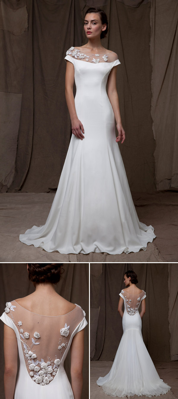 wedding dress trends – illusion neckline wedding dresses from fall 2014 bridal market | via junebugweddings.com