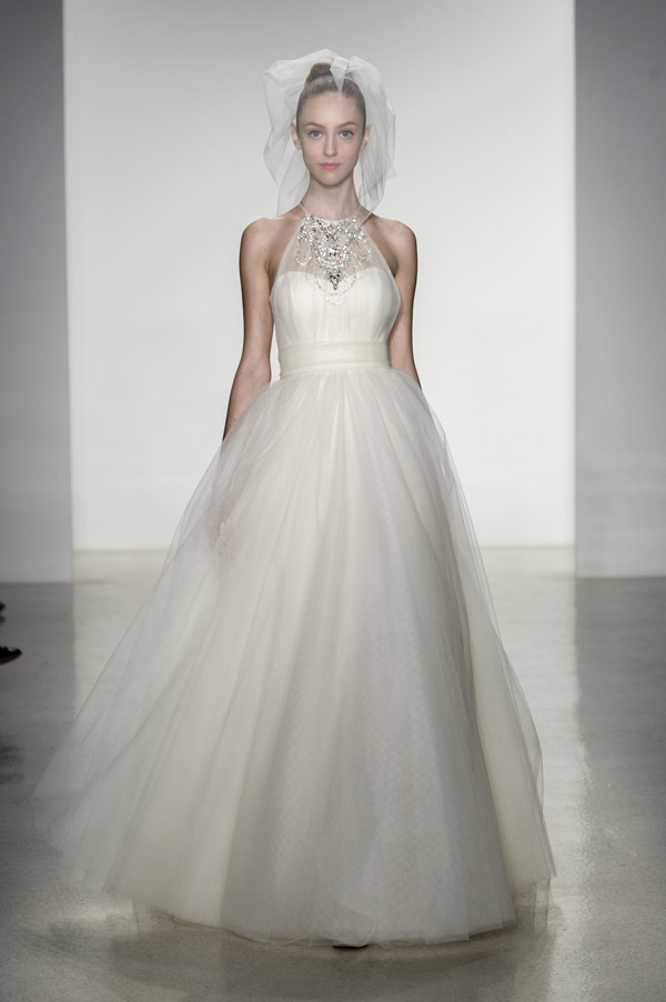 wedding dress trends – Amsale illusion neckline wedding dresses from fall 2014 bridal market | via junebugweddings.com