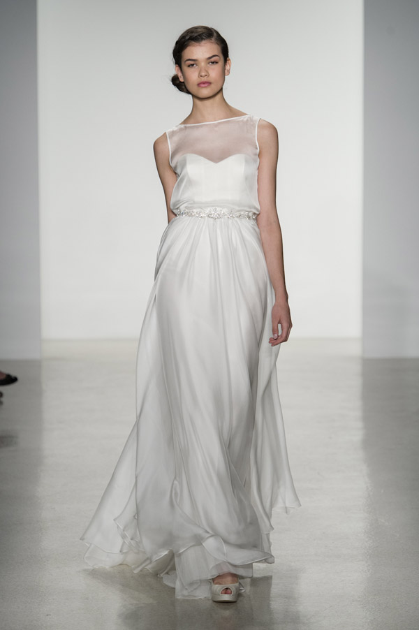 wedding dress trends – Christos illusion neckline wedding dresses from fall 2014 bridal market | via junebugweddings.com