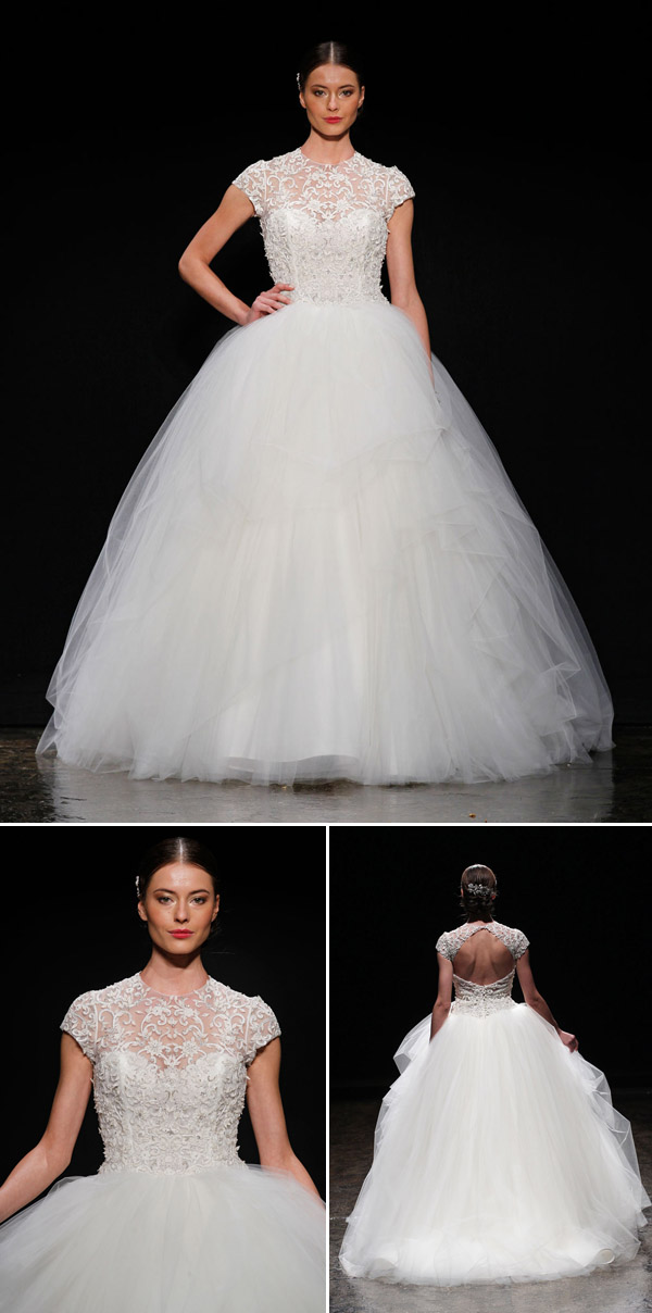 wedding dress trends – Lazaro illusion neckline wedding dresses from fall 2014 bridal market | via junebugweddings.com